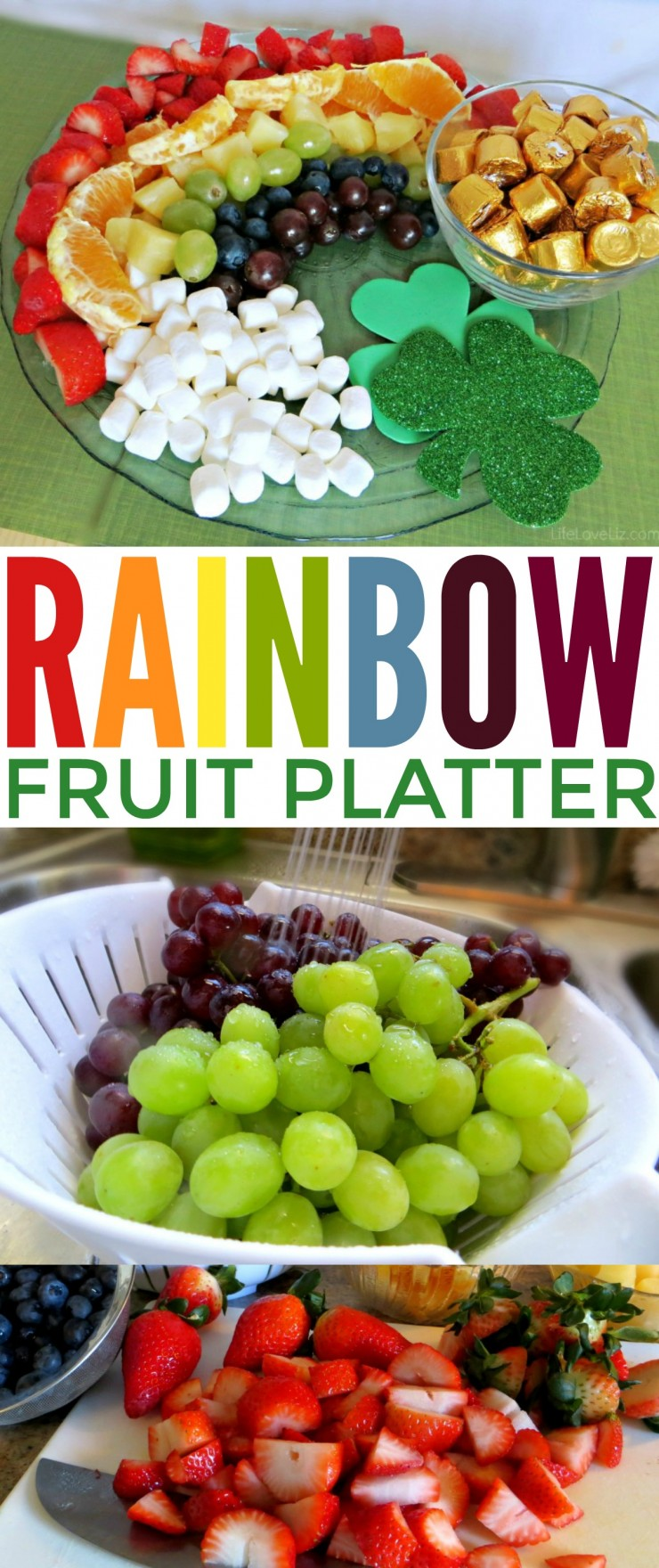 This Rainbow fruit platter is super cute and perfect for parties, pot-lucks, and of course your St. Patrick's Day celebration.