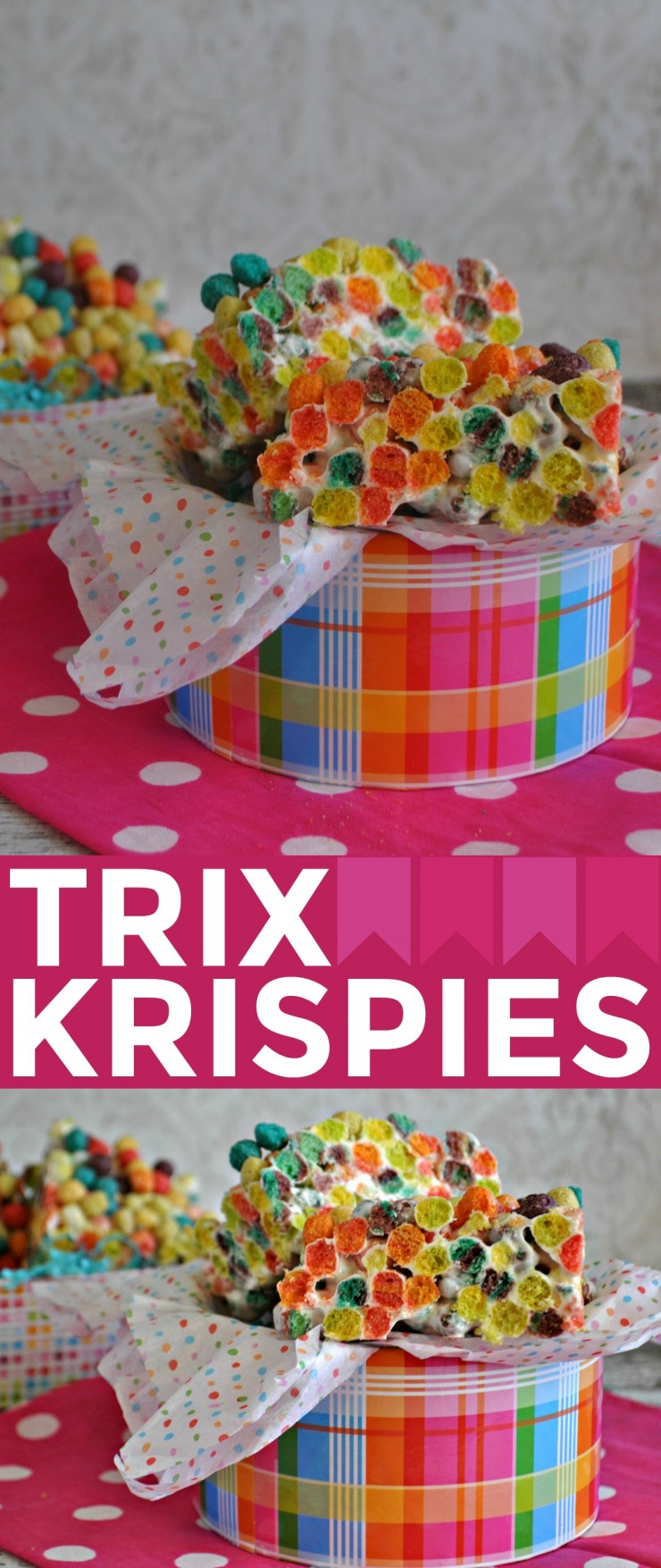 This Trix Krispies Recipe results in  fun and vibrant cereal treat bars that are full of flavours kids are sure to enjoy! Fun Easter Dessert idea!