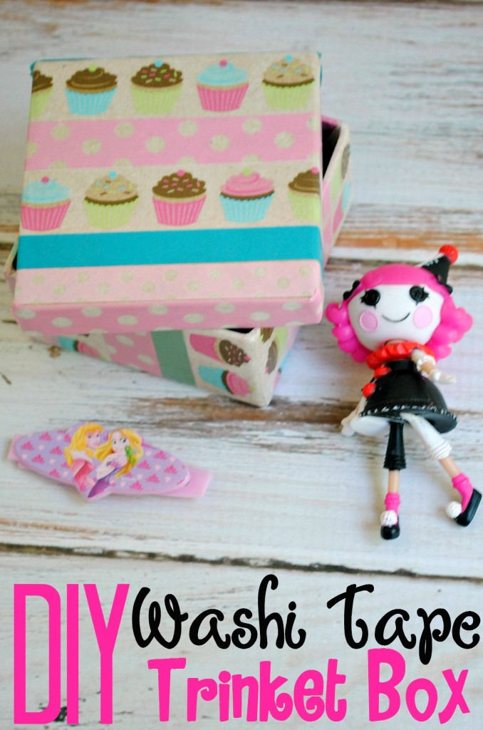 DIY Washi Tape Trinket Box is perfect for organizing all the little toys, jewellry and things kids seem to collect!