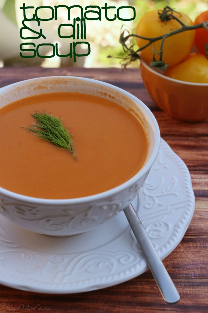 This Tomato & Dill Soup recipe pairs well with grilled cheese sandwiches for a garden fresh lunch!