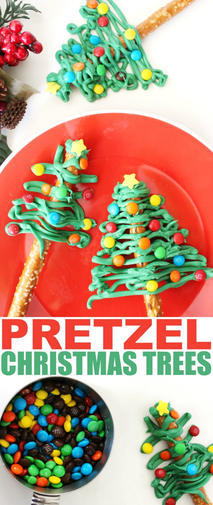 These Pretzel Christmas Trees make a simple and easy to make treat that look far more complicated than they really are. This of course makes them the perfect treat to impress your holiday party guests with!