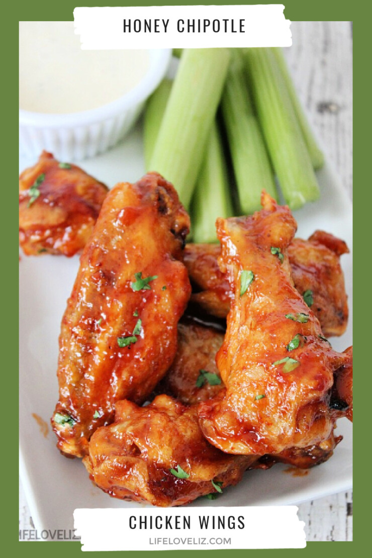 Chicken wings are always a favourite treat. These Honey Chipotle Chicken Wings are perfect to serve for the big game and any other get-together like New Years Eve! Just be sure to set a few aside for yourself before you do serve them!