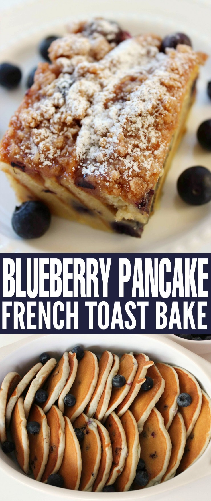 Looking for a great new breakfast recipe?  Check out this sumptuous Blueberry Pancake French Toast Bake!  Pancakes, a French Toast Mixture, Blueberries and a delicious crumble topping.  You could even eat this as dessert, it is that good!