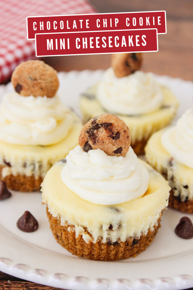 Chocolate Chip Cookie Mini Cheesecakes combine the flavours of chocolate chip cookies with a creamy cheesecake filling.