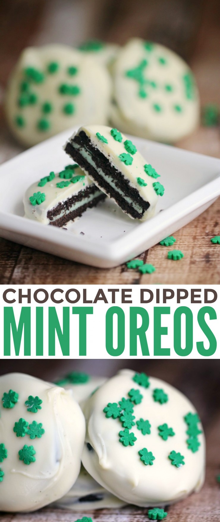 Chocolate Dipped Mint Oreos are an easy no-bake St. Patrick's Day dessert!