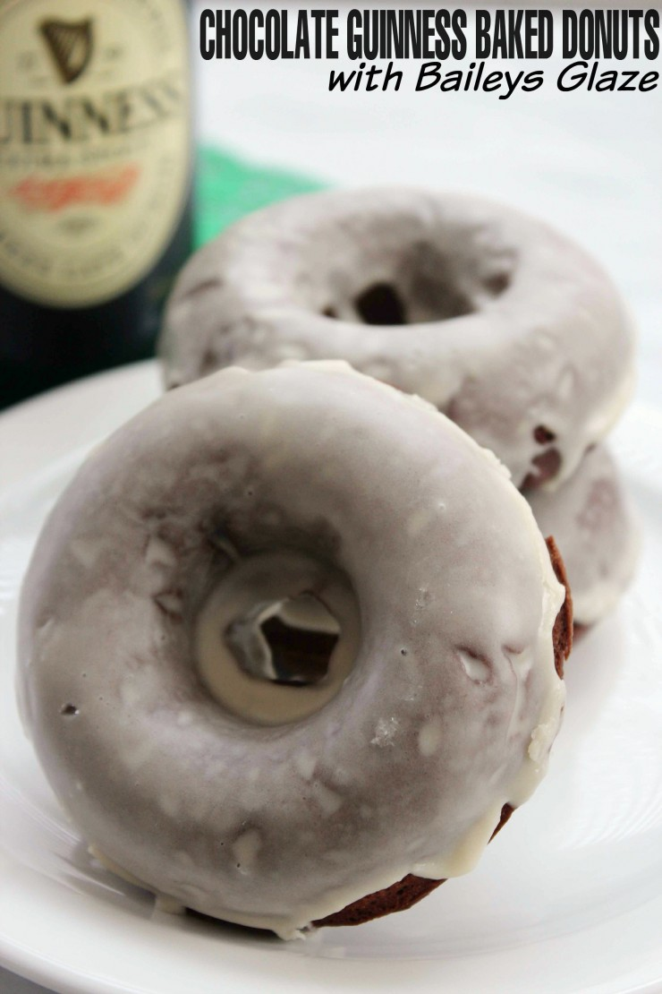 Chocolate Guinness Baked Donuts with Baileys Glaze are a perfect St. Patricks Day Dessert!