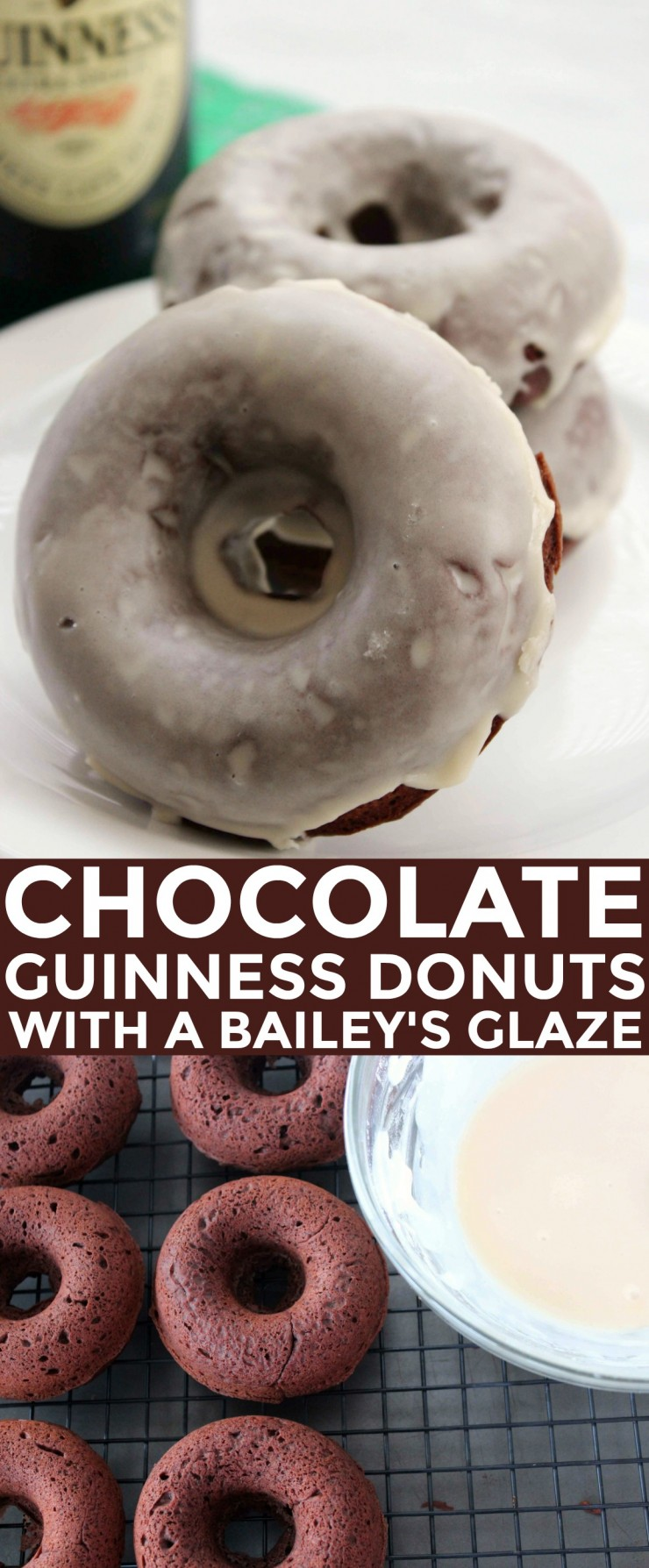 These Chocolate Guinness Baked Donuts with Baileys Glaze are a perfect St. Patricks Day Dessert!