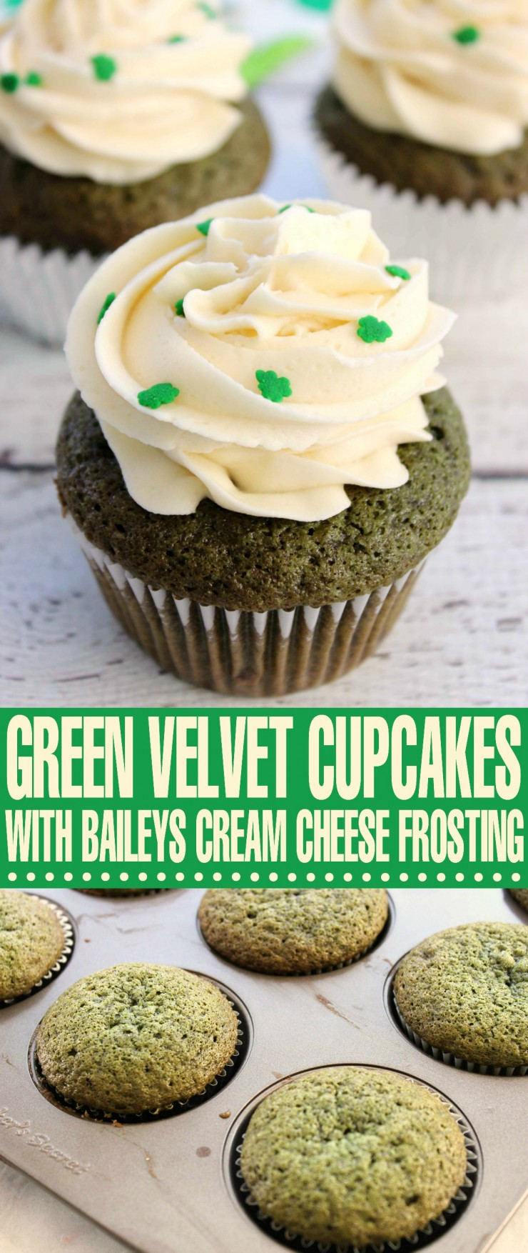 These Green Velvet Cupcakes with Baileys Cream Cheese Frosting Recipe are a perfect St. Patrick's Day Dessert!  These are one of my most favourite cupcakes and they are so festive looking too!