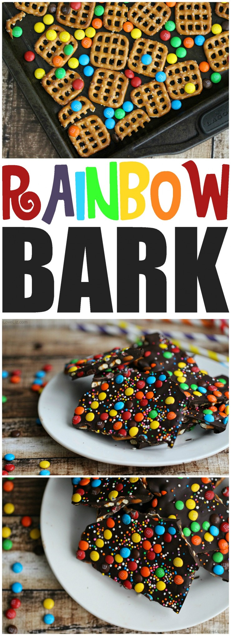 Rainbow Bark with Pretzels is a fun and tasty St. Patrick's Day dessert. It's sweet and salty in just the right way!
