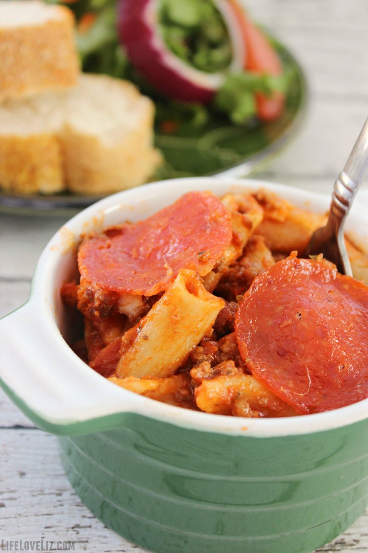 This One Pot Pepperoni Pizza Pasta is a fun twist on pasta with bolognese sauce that incorporates pepperoni into the mix for a bowl scraping delicious dinner.