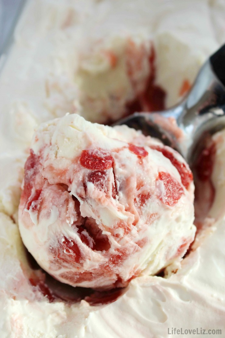 This No Churn Cherry Cheesecake Ice Cream is a lush cool summer treat perfect for sitting back and enjoying an indulgent dessert!