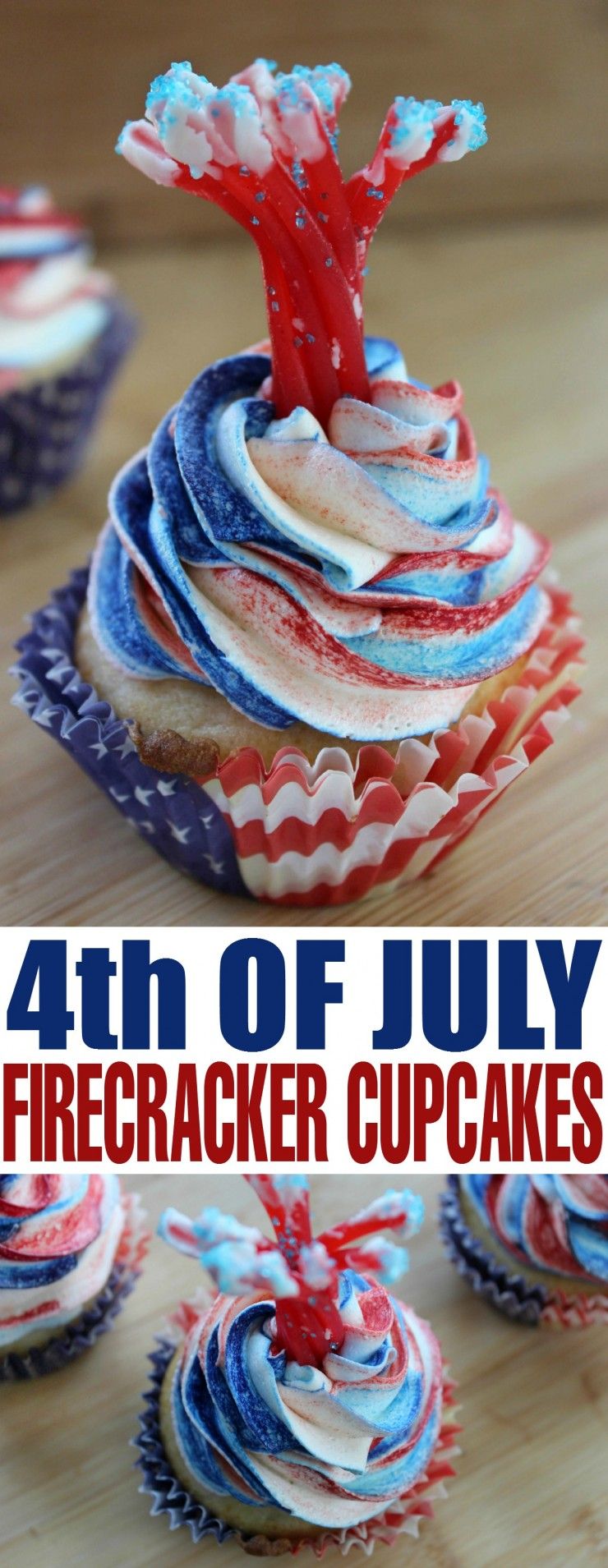 Celebrate American Independence day with these delightful Fourth of July Firecracker Cupcakes!