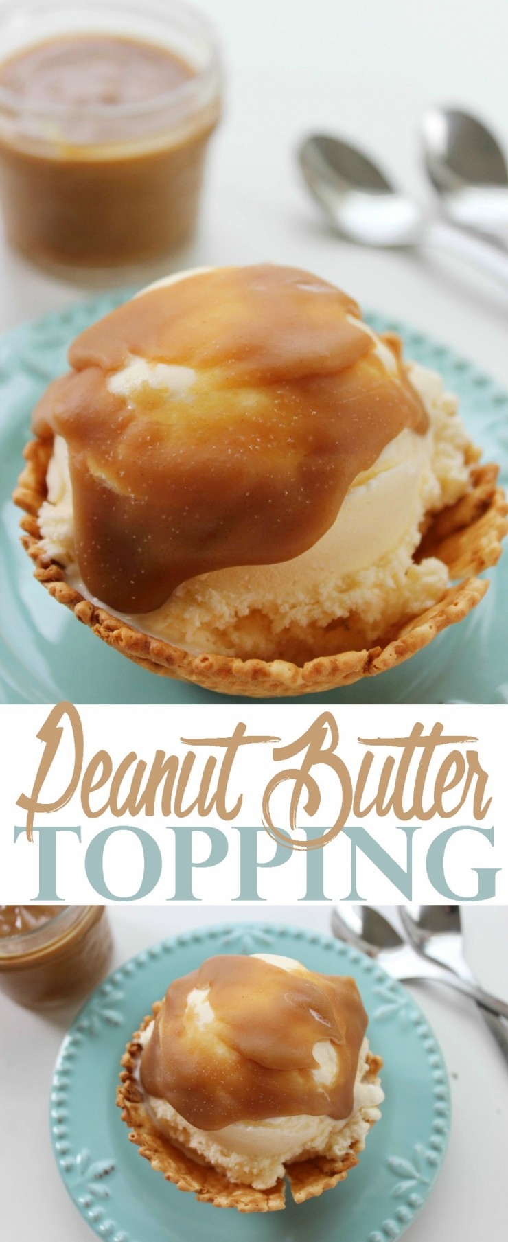 This Peanut Butter Topping is perfect for topping ice cream whether you opt for vanilla ice cream or a more adventurous ice cream flavour!
