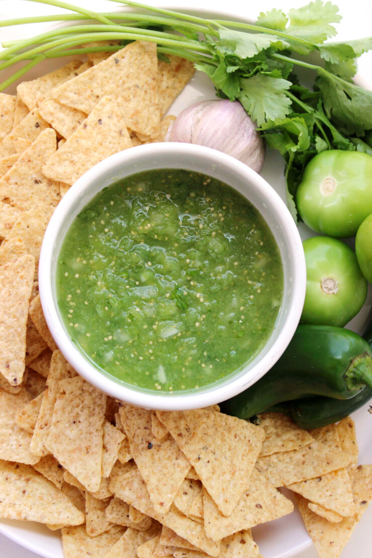 Salsa Verde is a classic summer accompaniment for tortilla chips - a perfectly fresh appetizer recipe!