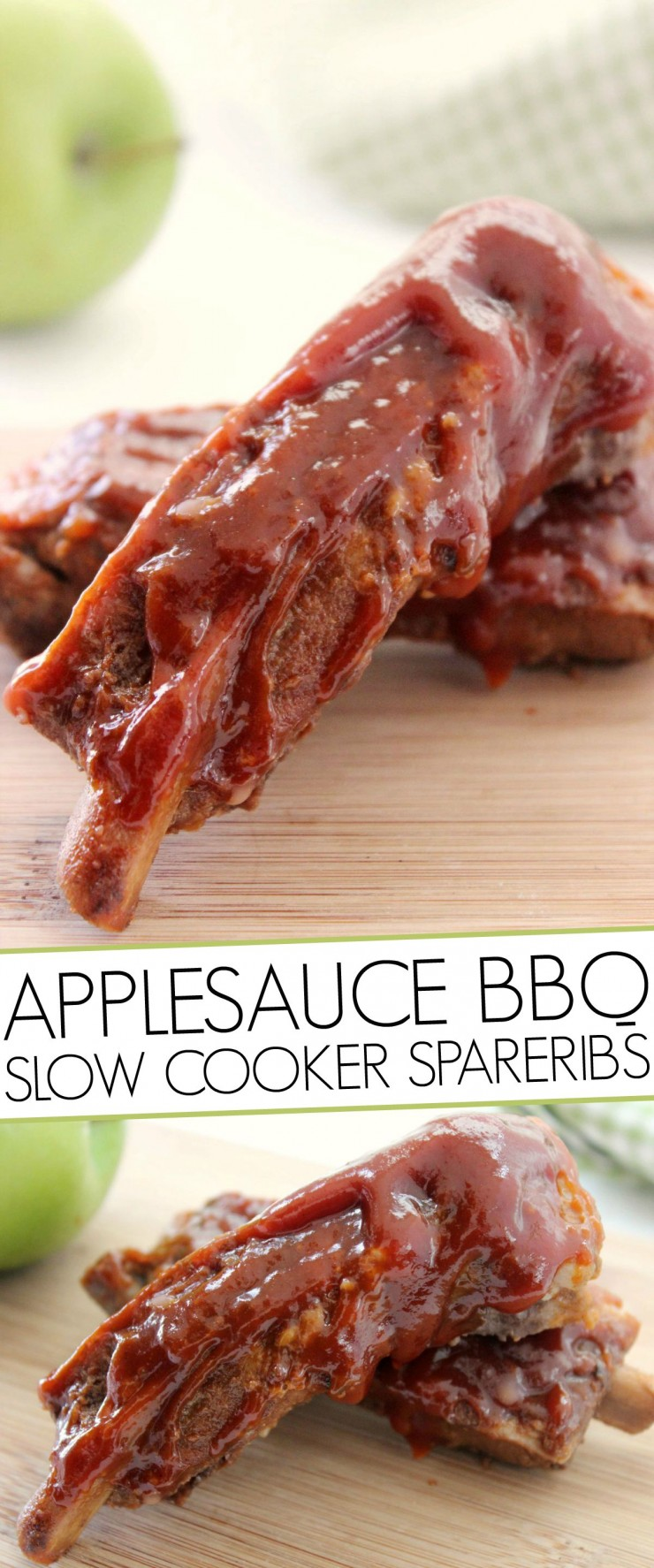 These Applesauce BBQ Slow Cooker Spareribs are going to blow you away. Finger-licking good, tender ribs cooked to perfection in your crock pot with amazing barbecue flavor!