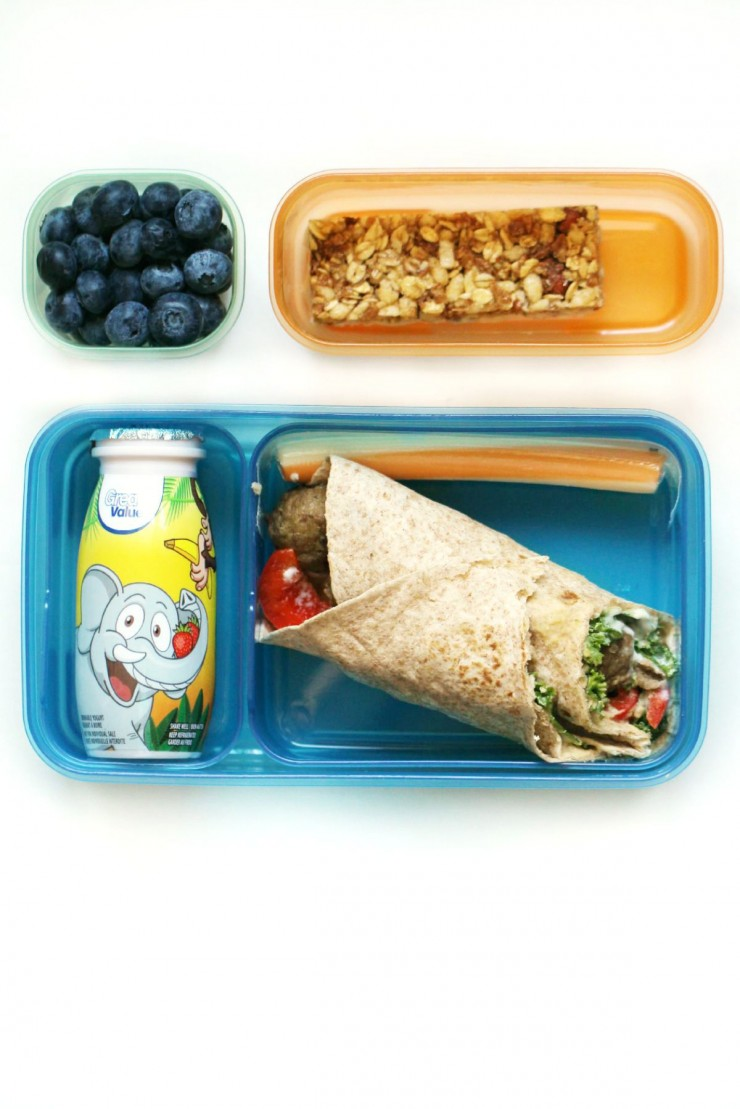 This Mediterranean Meatball Wrap uses leftover meatballs to create a delicious and healthy school lunch option!