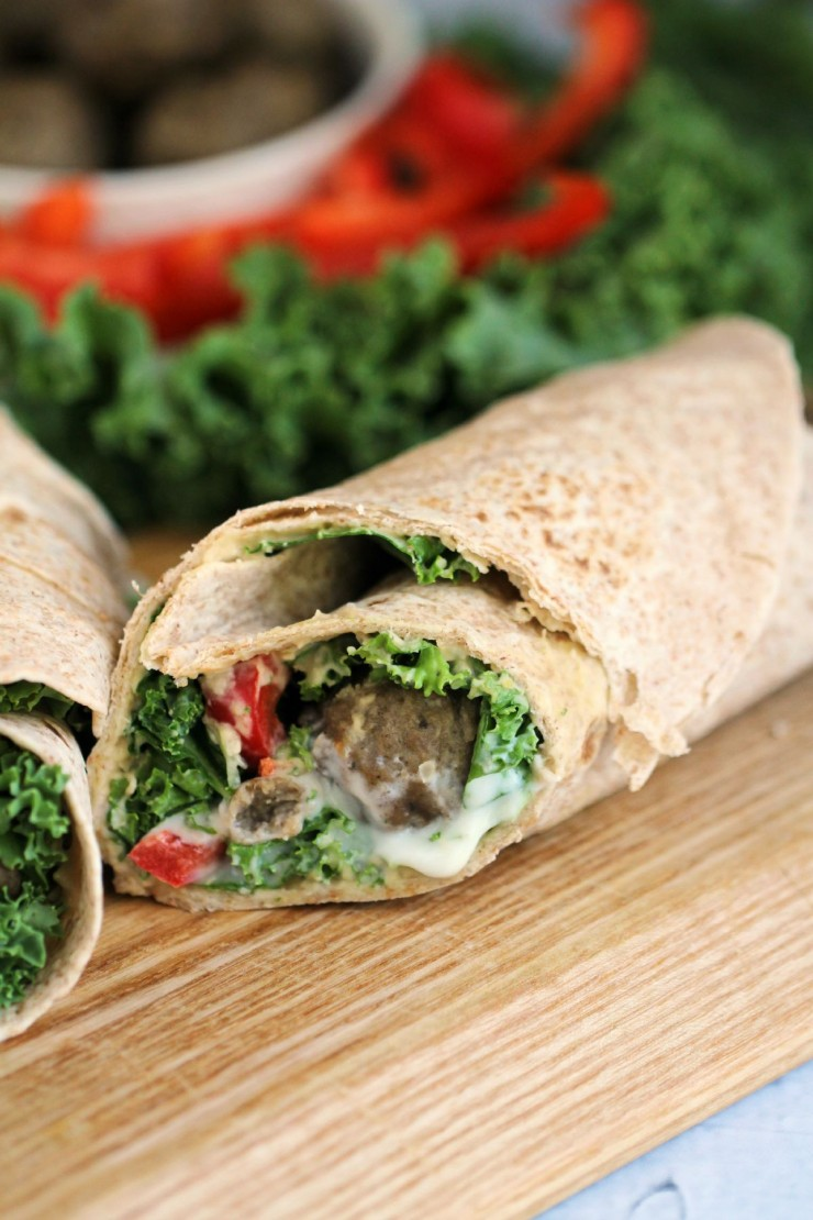 This Mediterranean Meatball Wrap uses leftover meatballs to create a delicious and healthy sandwich alternative for lunch!