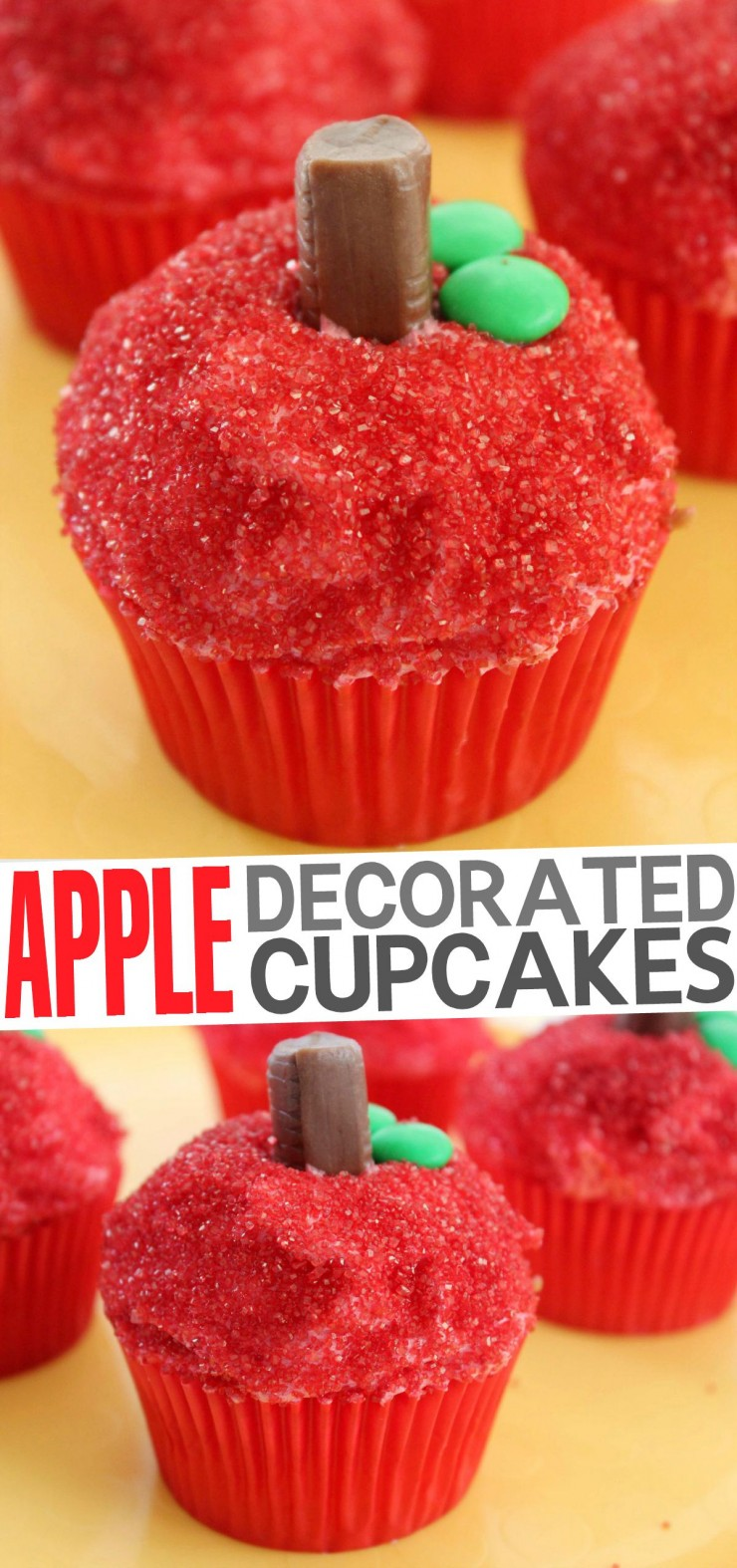 These Apple Decorated Cupcakes are an absolutely adorable back to school teacher appreciation gift or for a fun autumn party!