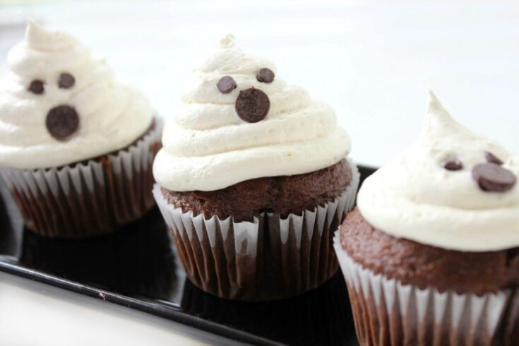 Ghost Cupcakes with Marshmallow Buttercream Frosting