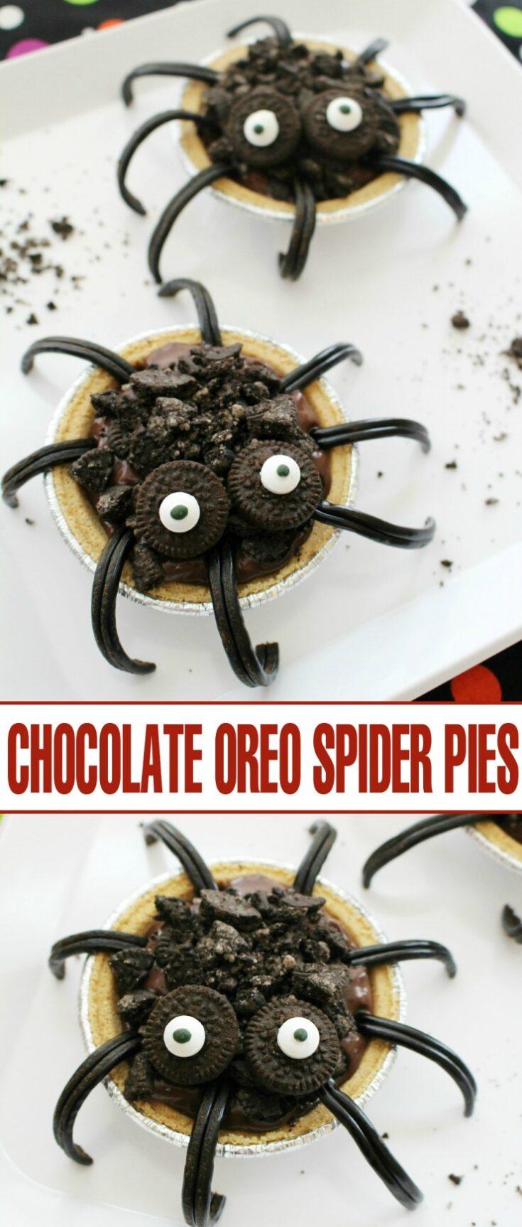 Chocolate Oreo Spider Pies