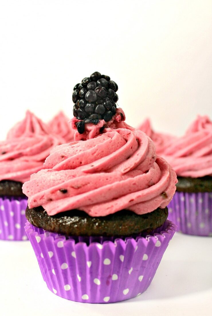 Blackberry Compote Filled Chocolate Cupcakes with Blackberry Frosting