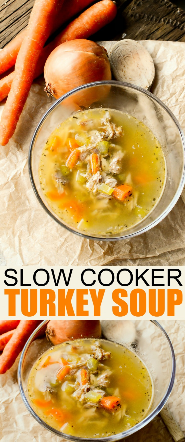 Stretch your food dollar with this Slow Cooker Turkey Soup recipe - a delicious and nourishing easy to make slow cooked soup.