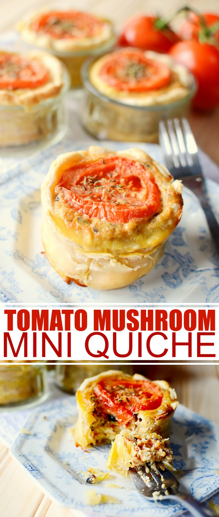 These Tomato Mushroom Mini Quiches make for a delicious lunch or breakfast recipe.  They are even great for serving at parties too!