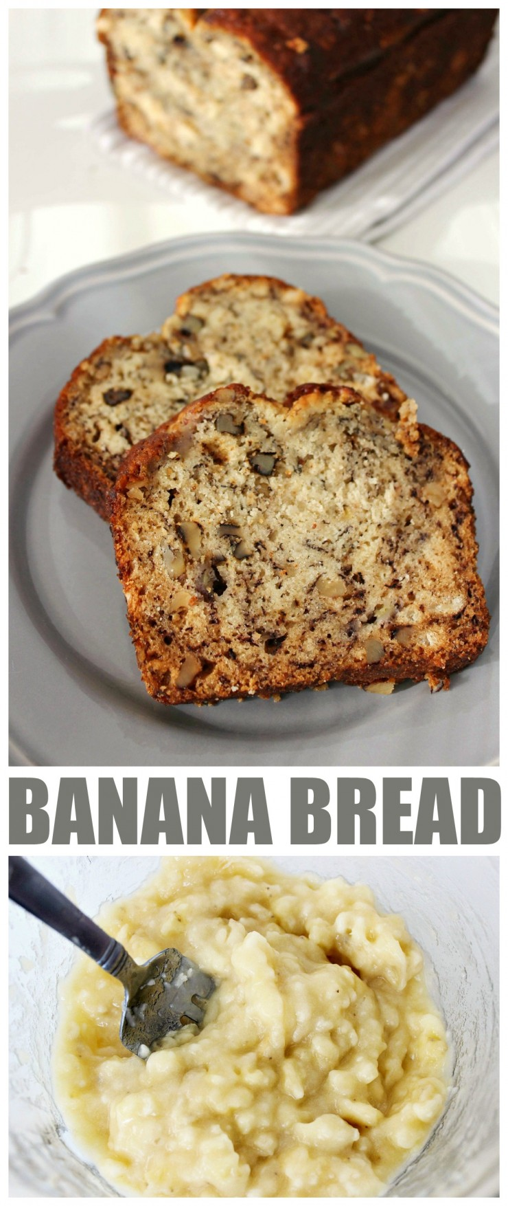Banana bread is a great way to use up over-ripe bananas and this recipe is seriously simple and you can't go wrong with that!