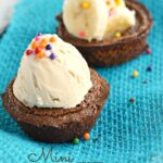 These Mini Brownie Bowls are super easy to make and are fun to fill with everything from fruit to ice cream.  These are great for a tasty treat or a party dessert!