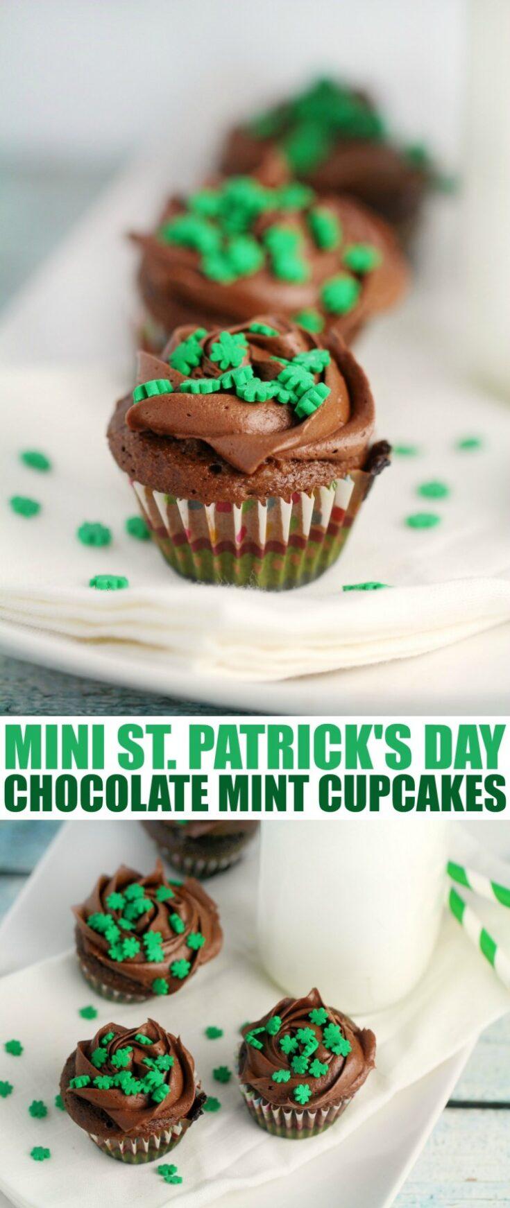 Mini St. Patrick's Day Chocolate Mint Cupcakes