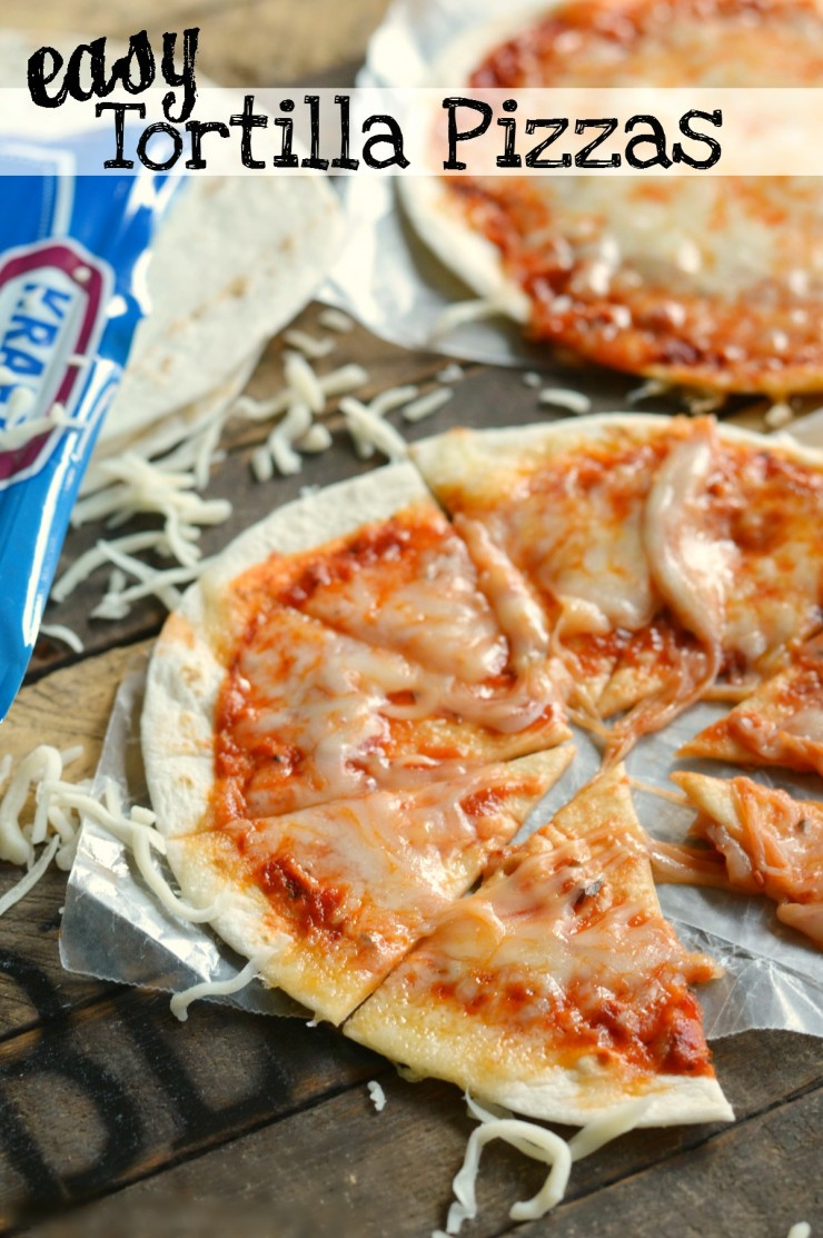 Easy Tortilla Pizzas are a great after school snack recipe that kids will love!