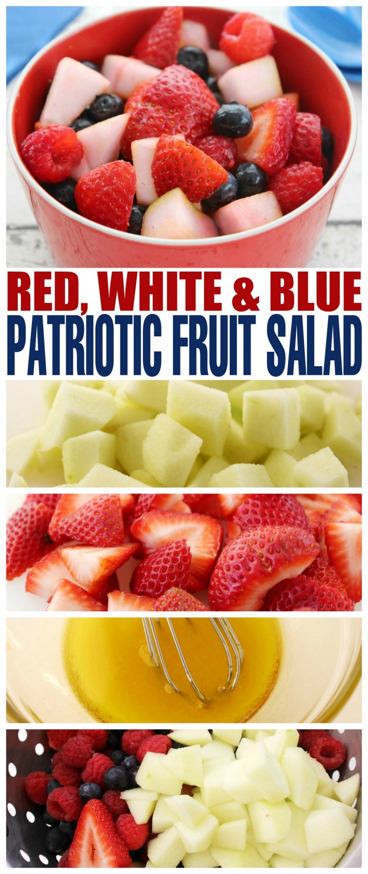 If you are planning a patriotic celebration for memorial day or the 4th of July, consider serving up this delicious patriotic fruit salad.