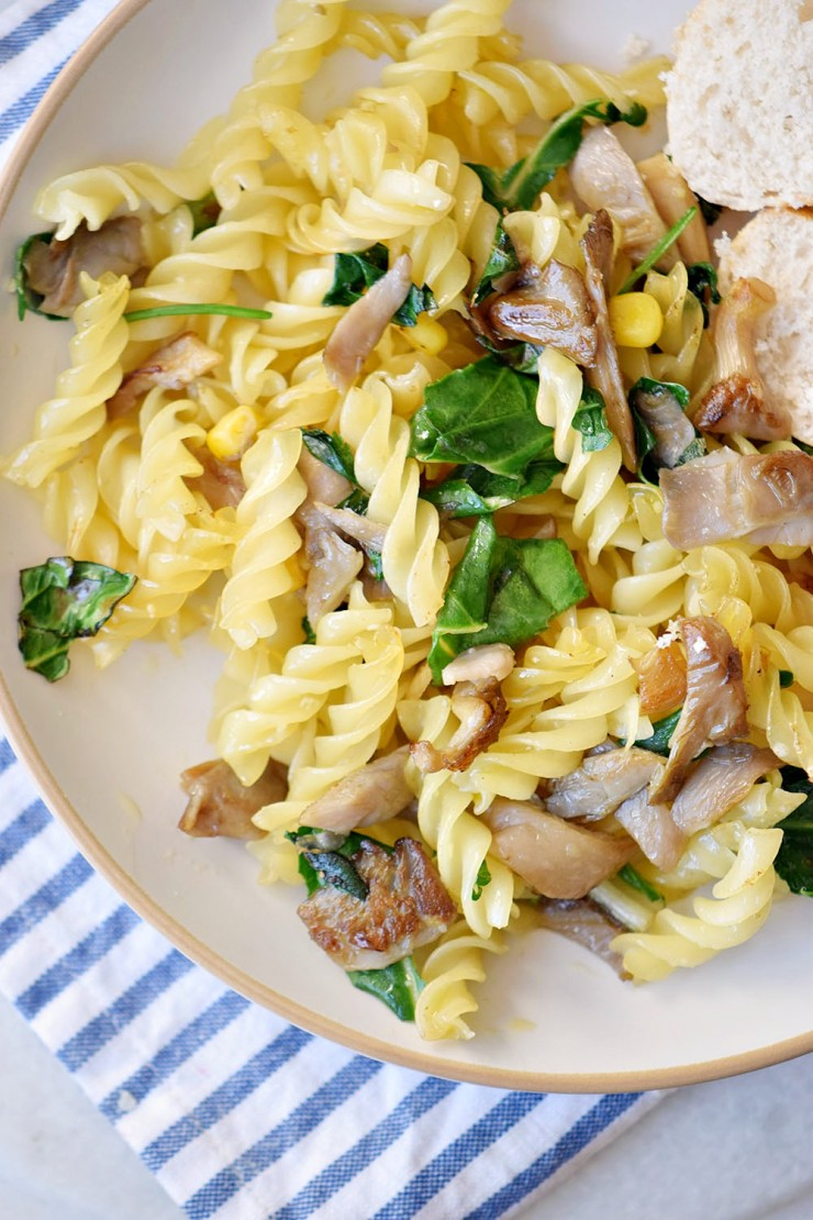 This Mushroom & Basil Fusilli Pasta is a fast and easy pasta dinner featuring fresh mushrooms and basil.