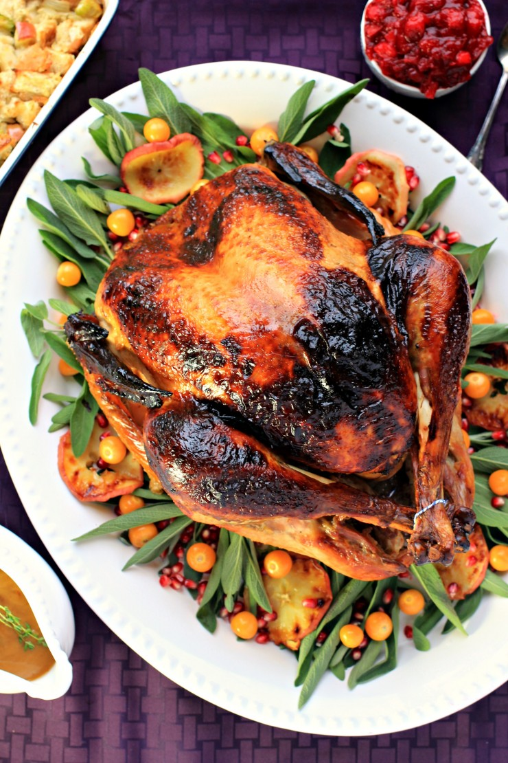 Enjoy this Sage & Apple Brined Turkey for Thanksgiving dinner this year. This brined turkey is perfectly moist and flavoured with sage and apples - a quintessentially autumn flavour pairing.