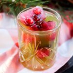 The Green & Red Cider Cocktail with Cran-Apple Ice Cubes