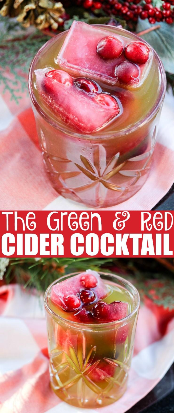 This The Green & Red Cider Cocktail with Cran-Apple Ice Cubes is a fun and flavourful cocktail perfect for holiday entertaining. Change things up from the usual with this tasty beverage! The red and greeen colours make it the perfect Christmas drink.