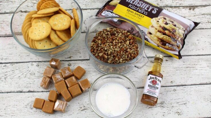 Chocolate Bourbon Caramel Pecan Ritz Cookies