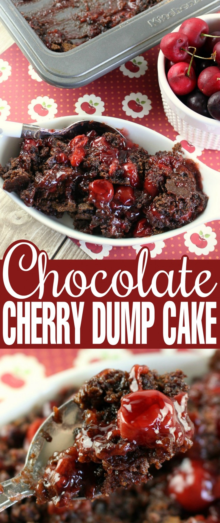 Chocolate Cherry Dump Cake is a super easy dessert that literally anyone can make. With just a handful of ingredients you probably have everything you need in your pantry right now to whip up a delicious pan of this chocolate cake layered over a bed of cherry pie filling.