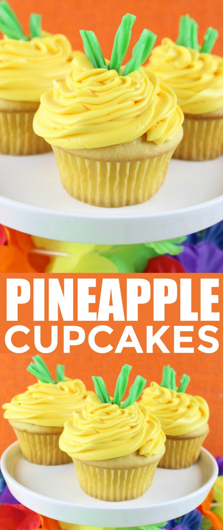 These Pineapple Cupcakes are super adorable, don't you think? Perfect for any summer or Hawaiian themed party, everyone are sure to love these cute desserts.