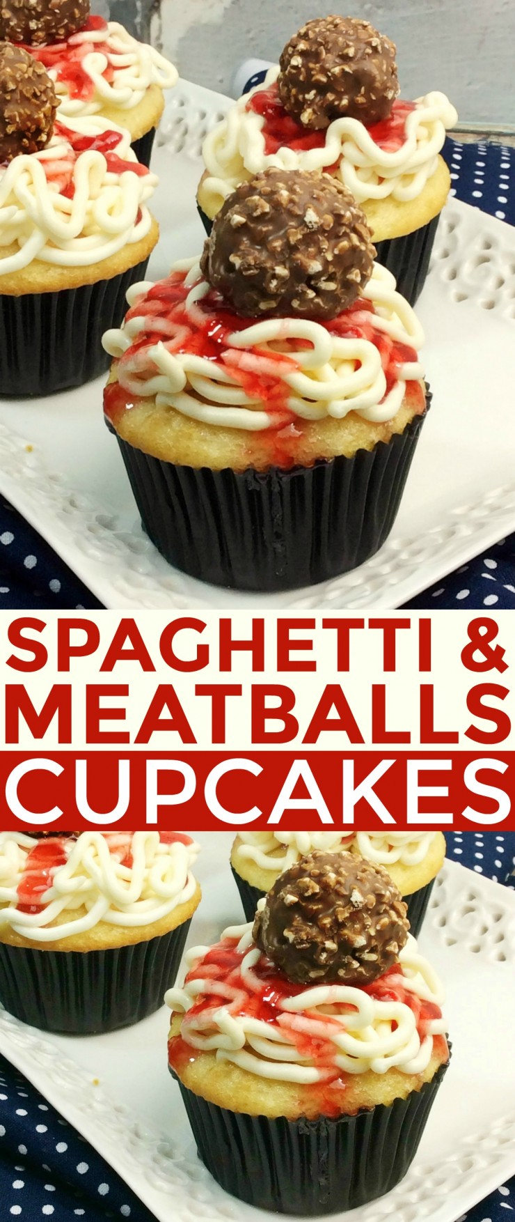 These Spaghetti & Meatballs Cupcakes are a fun treat that everyone is sure to love. How cute are these cupcakes? They look like real spaghetti and meatballs on top of a cupcake! Did it fool you?