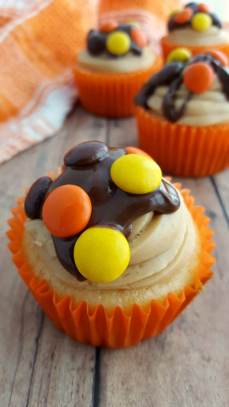 Reese's Pieces Cupcakes with Peanut Butter Frosting and Chocolate Peanut Butter Ganache