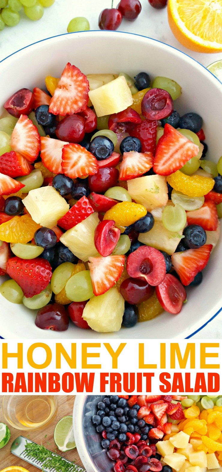 This Honey Lime Rainbow Fruit Salad is a fresh and healthy dessert. Fruit salads are a summer staple and the honey lime dressing on this fruit salad is absolute perfection.