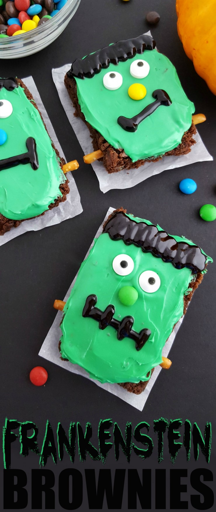 These Frankenstein Brownies are a cute Halloween treat that are a little spooky and a little bit sweet. Perfect for Halloween parties, kids are sure to love this ghoulish treat!