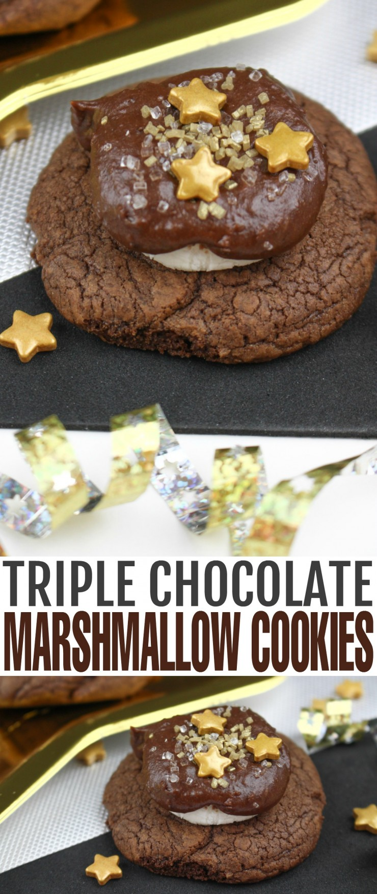 These Triple Chocolate Marshmallow Cookies will satisfy any chocolate craving with their fudgy chocolate cookie base topped with marshmallow smothered in more chocolate. These are any chocolate lovers dream come true!