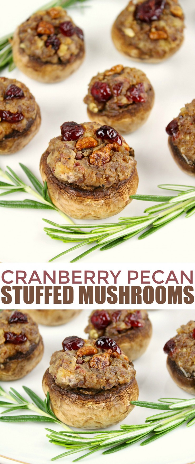 These Cranberry Pecan Stuffed Mushrooms with Goat Cheese are a tasty holiday appetizer that will impress your guests.