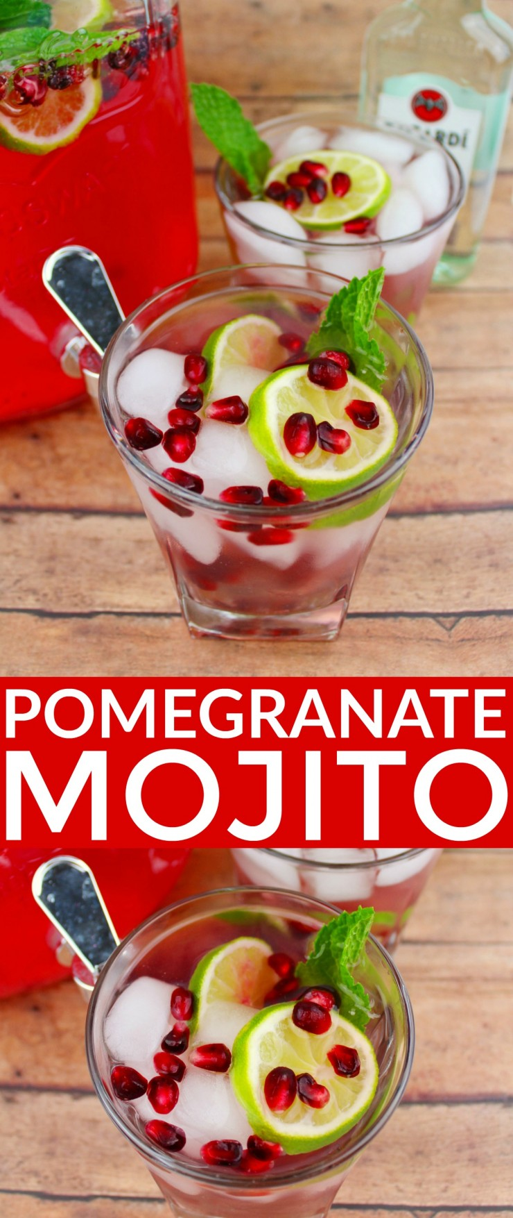This Pomegranate Mojito is a festive winter cocktail perfect for serving at holiday parties. It is delicious and sure to be a hit at your New Years eve bash or for pre-Christmas dinner drinks.