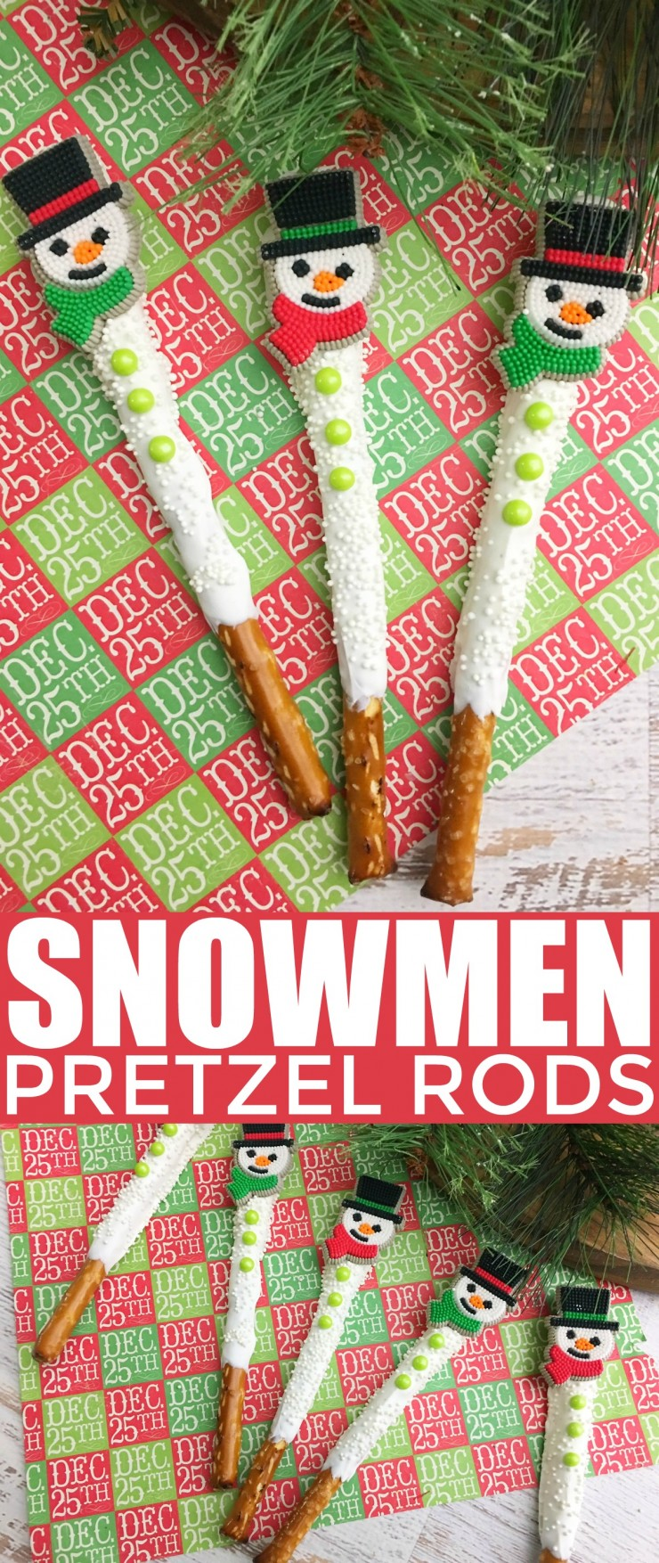 These snowmen pretzel rods are a fun and festive holiday treat. These sweet and salty snacks are great for Christmas parties and super easy to make. A sure way to impress guests!