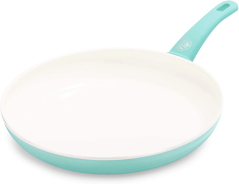 "GreenLife Ceramic Frying Pan, 12"", Turquoise"
