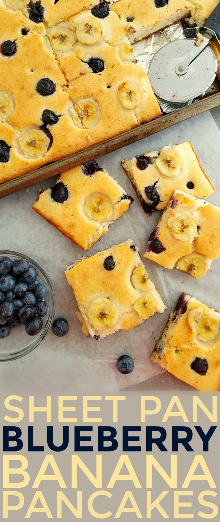 These Sheet Pan Blueberry Banana Pancakes are a great way to make a delicious, no-fuss breakfast for a crowd.