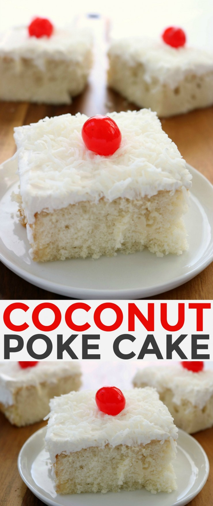 This Coconut Poke Cake is a delicious dessert to enjoy after dinner with a mug of coffee but it works equally as well for serving guests.